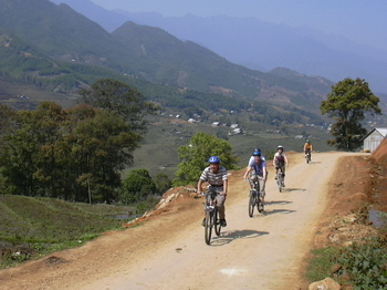 Biking to The BanHo Village from Sapa Town  Viet Nam