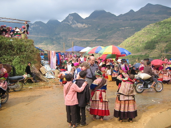 Tourist Meeting HMong People at CanCau Market Laocai Viet Nam